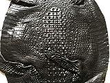 Crocodile Skin Leather Hide Hornback Black 43cm