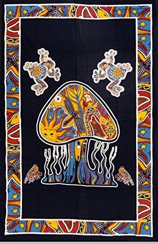 Jaipur Handloom Trippy Psychedelic Mushroom Tapestry Frogs Magic Shrooms Tapestry Dorm Tapestry Hippie Tapestry Wall Hanging Fantasy Bohemian Bedding Bedspread Trippy Animal Wall Art