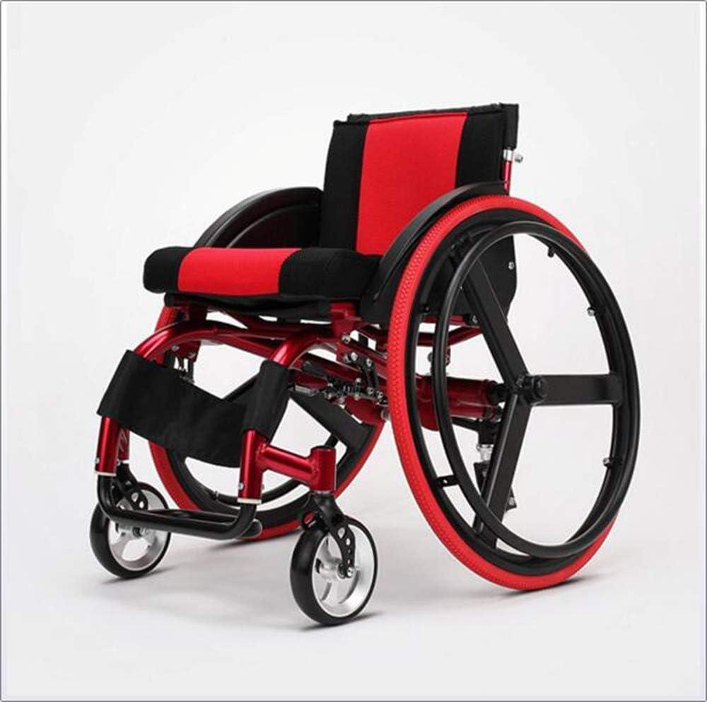 GBX@I Deportes y tiempo libre Silla plegable para silla de ruedas Portátil con aleación de aluminio ultraligera Liberación rápida Rueda trasera Amortiguador Trolley Discapacitados A