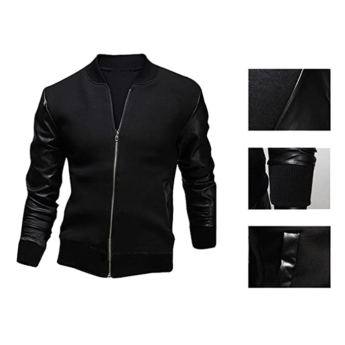 Amazon.com: Charberry Mens Clothes Fashion Mens Autumn Winter Slim Collar Casual Jackets Tops Leather Jacket: Clothing
