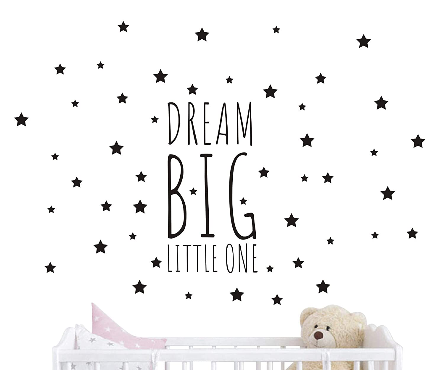 JOYRESIDE Dream Big Little One Night Sleep Wall Decal Vinyl Sticker Stars Decor Nursery Kids Babys Room Home Bedroom Quote Decoration YMX14 (Black, Small) JURUOXIN