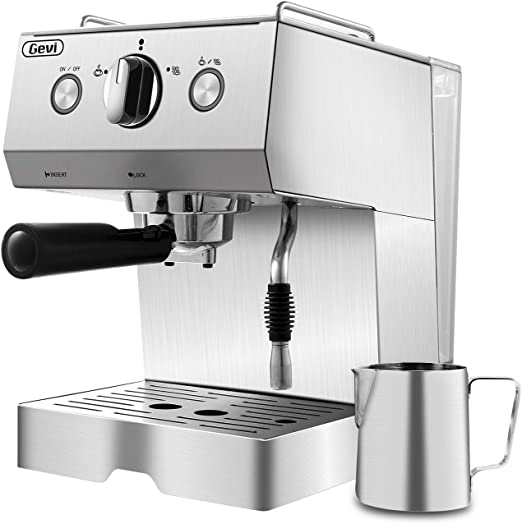 Espresso Machine Coffee Machine 15 Bar Stainless Steel Coffee Brewer with Milk Frother Wand, Package w/Free Milk Frothing Pitcher, for Cappuccino, ...