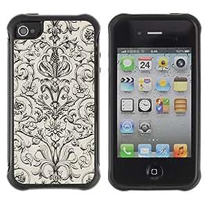"Pulsar iFace Series Tpu silicona Carcasa Funda Case para Apple iPhone 4 / iPhone 4S , Patrón Poker Vintage Wallpaper floral"""