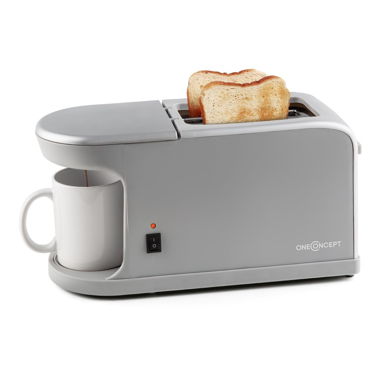 oneConcept Quickie 2 in 1 tostapane con macchina per il caffè integrata (900-1050w, doppio slot, 7 livelli doratura, serbatoio 250ml, tecnologia Cool-Touch) - grigio