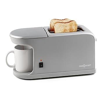 Oneconcept Quickie Tostadora y Minicafetera 2 en 1 (Potencia 900-1050W, máquina de Cafe con Carcasa termoaislante, para 2 rebanas de Pan, Incluye una Taza) ...