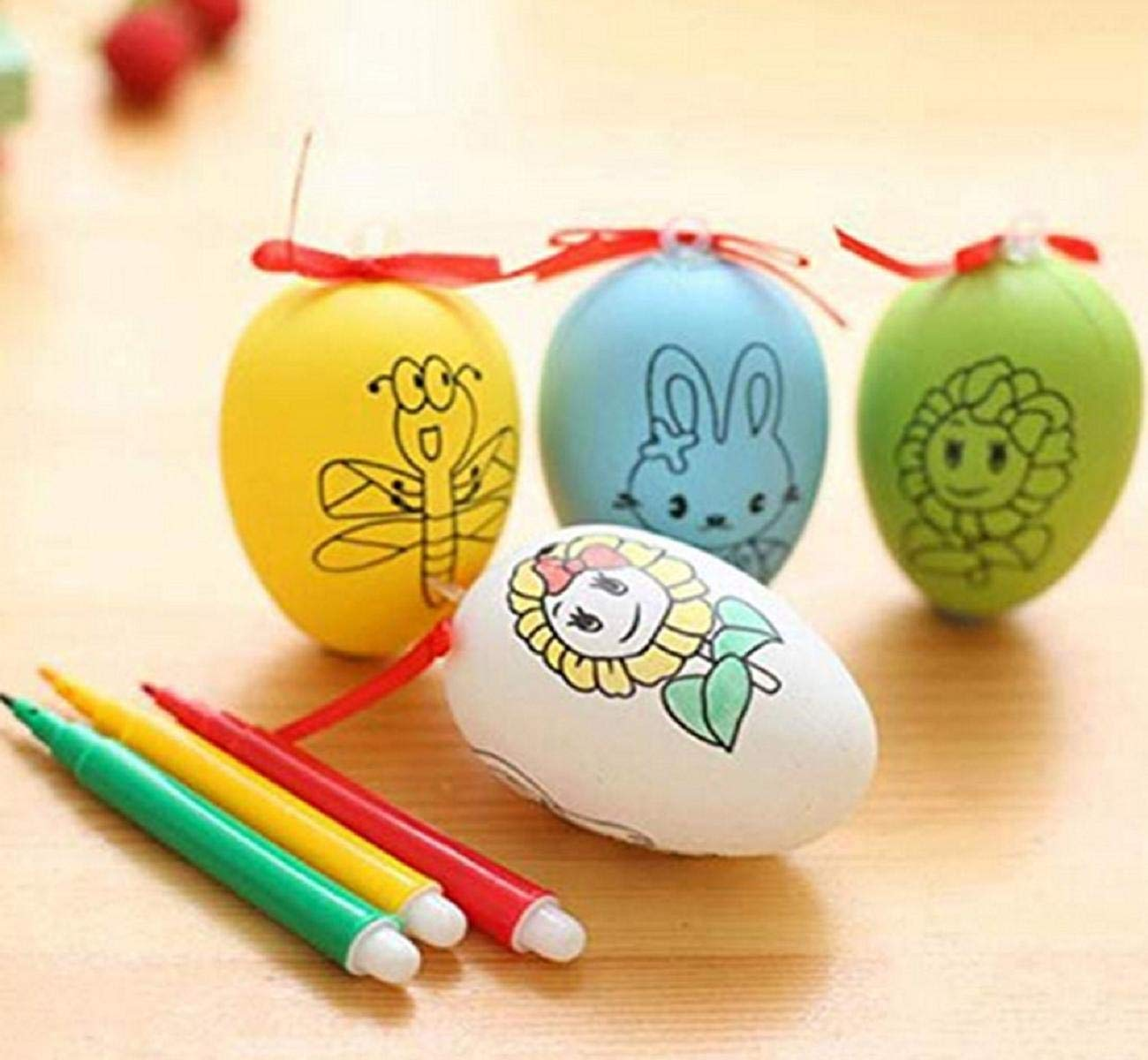 Guesthome hand painted eggs with colored pen easter eggs for childrens hand painted eggs diy doodle plastic eggs creative painting toy set for kid child