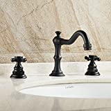 Bathroom Faucet Handle Spacing Ollypulse Double Cross Handles High Arc Widespread Bathroom Sink Faucet (Oil rubbed bronze)