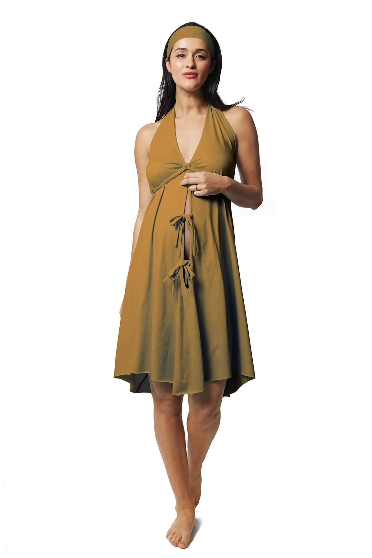 Pretty Pushers Cotton Jersey Labor Gown Plus Size (18-26 pre-Pregnancy) Olive