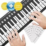 A-szcxtop Roll Up 49 Key Piano Toy Keyboard Hand Piano Folding Electronic Piano & Organ Keyboard Piano StickerTransparent