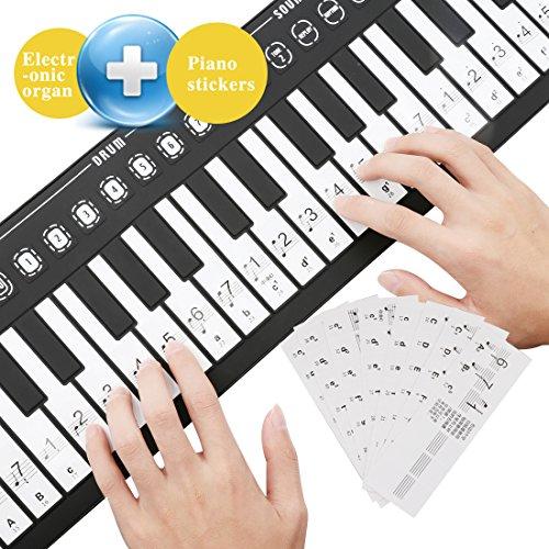 A-szcxtop Roll Up 49 Key Piano Toy Keyboard Hand Piano Folding Electronic Piano & Organ Keyboard Piano StickerTransparent by A-szcxtop