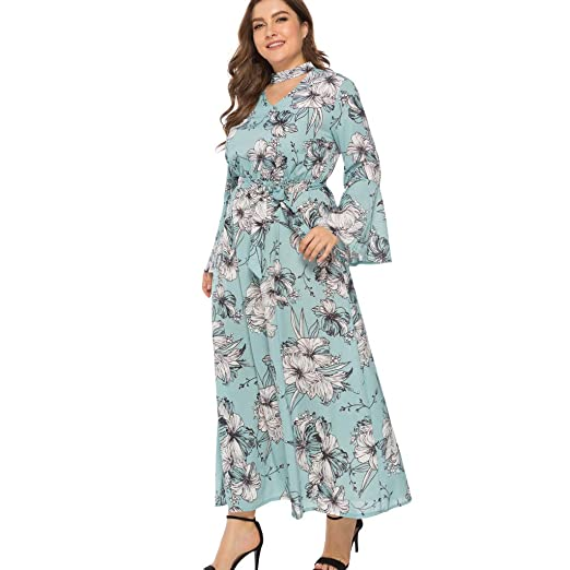 Boho Gown Dresses For Women Floral Flare Long Sleeve Plus Size Maxi
