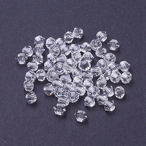 (Pandahall 288pcs Czech Glass Bicone Beads 4mm Faceted Crystal Clear Loose Beads for DIY Jewelry Making)