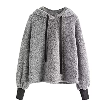17838922d7 KFSO Womens Plus Size Faux Fur Crop Hoodie Long Sleeve Drawstring Sweatshirt  Tops Blouse (Gray