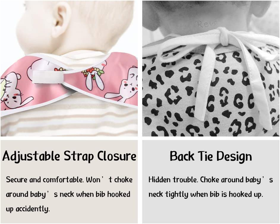 - Pack of 2 by Little Dimsum Bear Penguin Long Sleeved Baby Bib Feeding Bibs Waterproof Coverall Adjustable Closure for Babies Toddlers with Large Pocket 6-36 Months