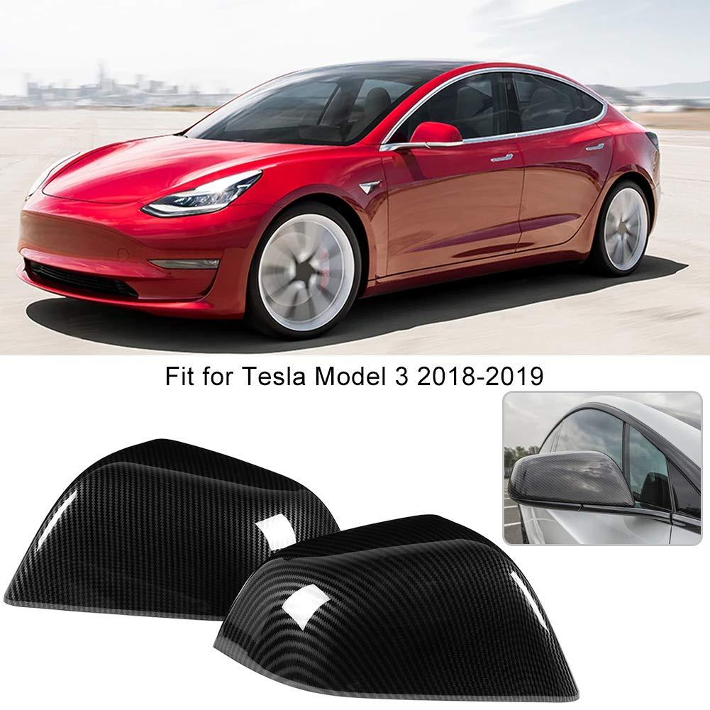 Alinory TeslaModel 3 2Pcs Fibre de Carbone Porte R/étroviseur Couverture Garniture Moulure Fit pour TeslaModel 3 2018-2019