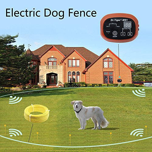 Dr.Tiger 2 Receivers Electric Dog Fence, Invisible Fence For Dogs with 328 Ft Wire, Collar Send Beeps and Shock Correction, WCFN-1