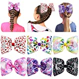Hair Bows for Girls, ESILIA Hair Cheer Bow Girl Hair Alligator Clip Accessories, 6pcs 8inch Large Hair Bow Flower Hair Clips Rainbow Star Heart Hair Pin Holder for Baby Girl Kids Pet with Gift Package