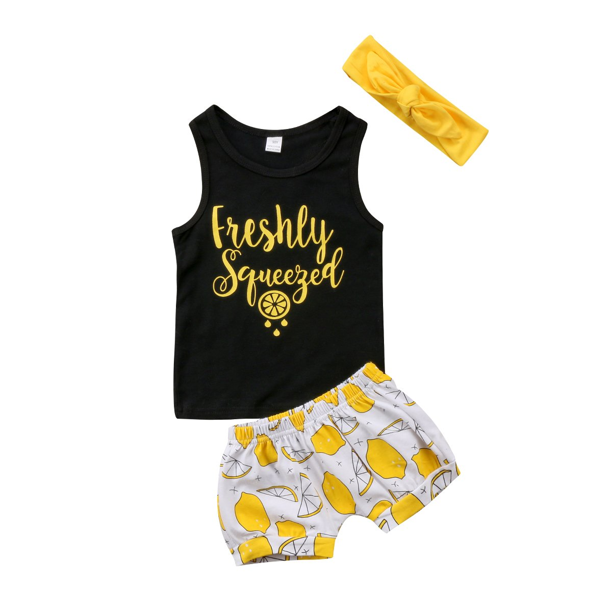 Toddler Kids Baby Girl Sleeveless T-Shirt Top+Shorts+Headband Outfit