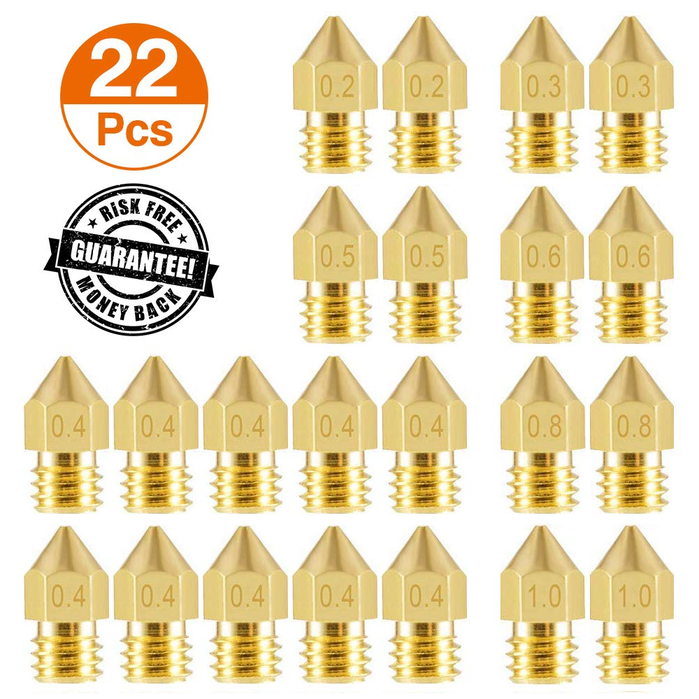 0.3mm 0.8mm Aokin 22 Pieces 3D Printer Nozzles 1.0mm Brass Extruder Print Head for 3D Printer Anet A8 Makerbot MK8 Creality CR-10 Ender 3 0.5mm 0.4mm 0.6mm MK8 Extruder Nozzle 0.2mm