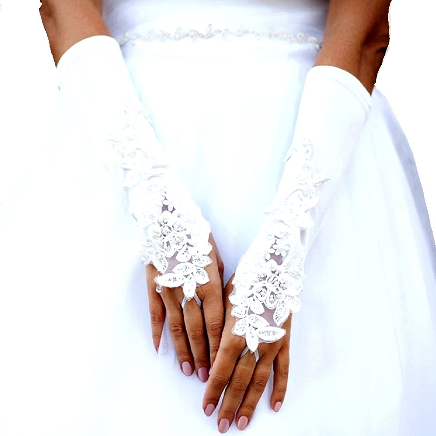 8c1135d2cdd3c Women's White Satin Lace Flower Fingerless Bridal Gloves Wedding Party  Brides Prom