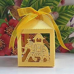 Joinwin® Pack of 50pcs big size Golden elephant Wedding favor Box,animal candy box,wedding decoration,party decoration,wedding cake boxes