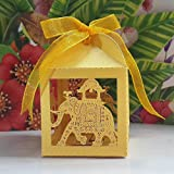Joinwin® Pack of 50pcs big size Golden elephant Wedding favor Box,animal candy box,wedding decoration,party decoration,wedding cake boxes