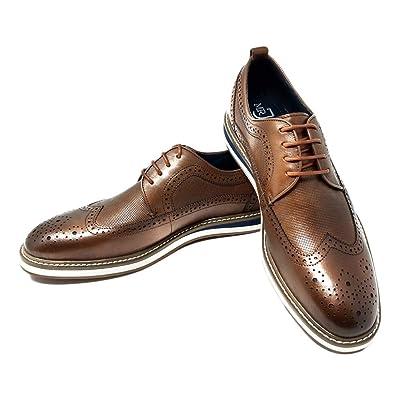 Mr. Jog Men's Premium Leather Casual Oxford Dress Shoe | Comfortable Insole | Lace Up | Rubber Sole | Oxfords