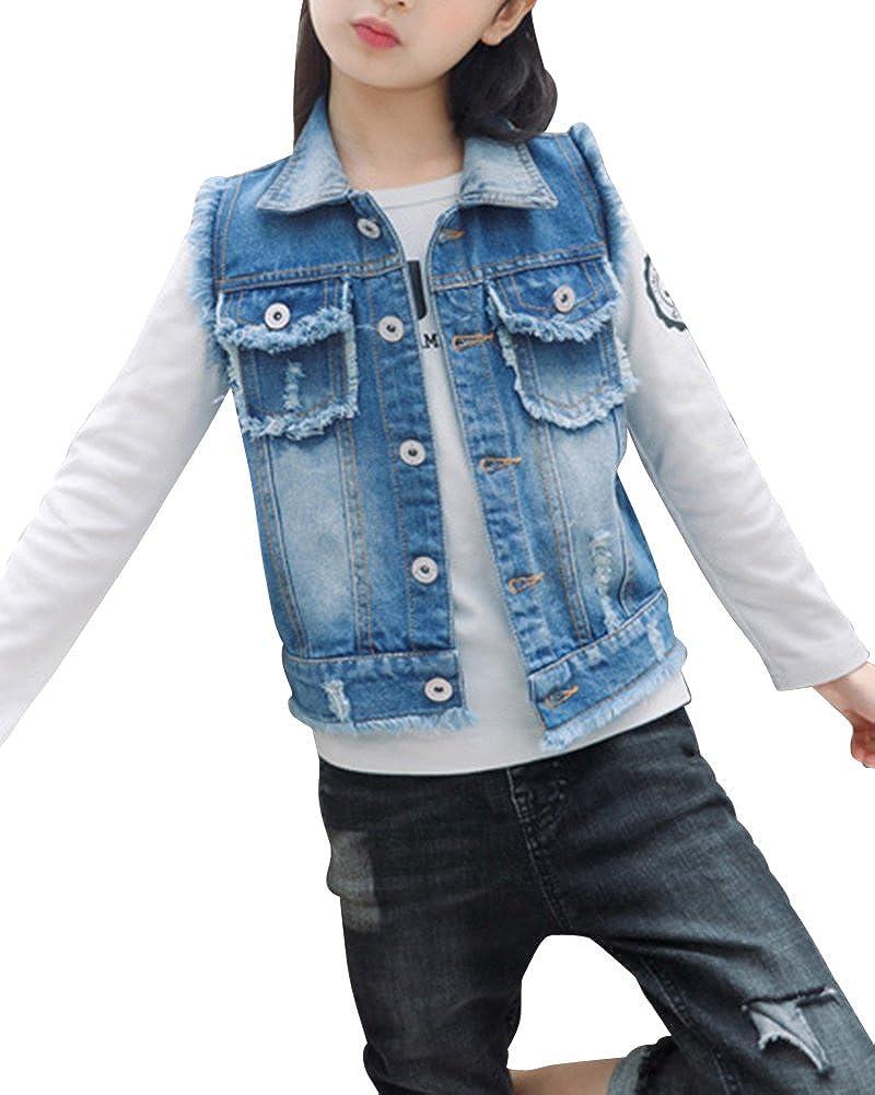 ZiXing Bambine E Ragazze Denim Gilet Giacca Slim Jeans Giacca Senza Maniche Cappotti Giacca