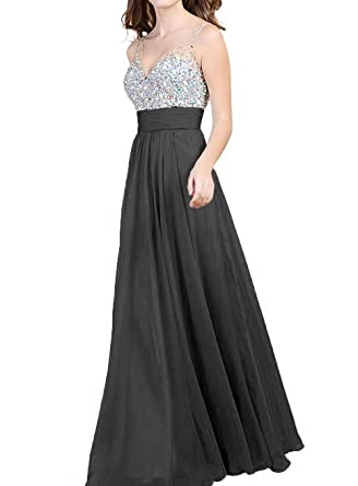 bb2282f790b Women s V Neck Sequins Empire Chiffon Long Prom dress With Rhinestone Black  Size 2