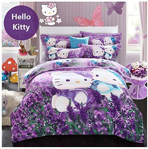 Brandream Purple Lavender Hello Kitty Bedding Cute Cartoon K
