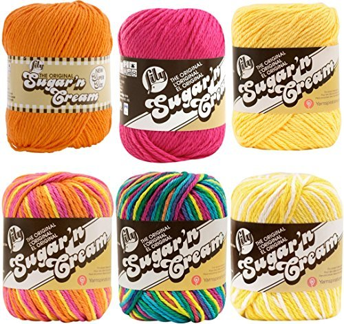 Variety Assortment Lily Sugar'n Cream Yarn 100 Percent Cotton Solids and Ombres (6-Pack) Medium Number 4 Worsted Bundle with 4 Patterns (Asst 35) by Spinrite (Image #1)
