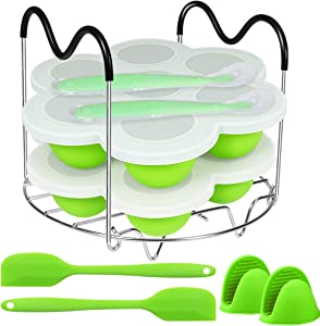 Aiduy Silicone Egg Bites Molds and Steamer Rack Trivet with Heat Resistant Handles Compatible with Instant Pot 6, 8 Qt, 9 Pcs Set Include 2 Silicone Spatulas, Silicone Spoons and Oven Mitts