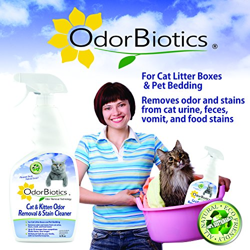 OdorBiotics Pet Stain-Odor Eliminator for Cat Litter Boxes, Small Animal Cages for Chinchilla, Ferret, Guinea Pig Bedding, Hamster and Bunny Rabbit Houses, Carpet Fabric Stains, 32 oz Spray Bottle by OdorBiotics (Image #2)