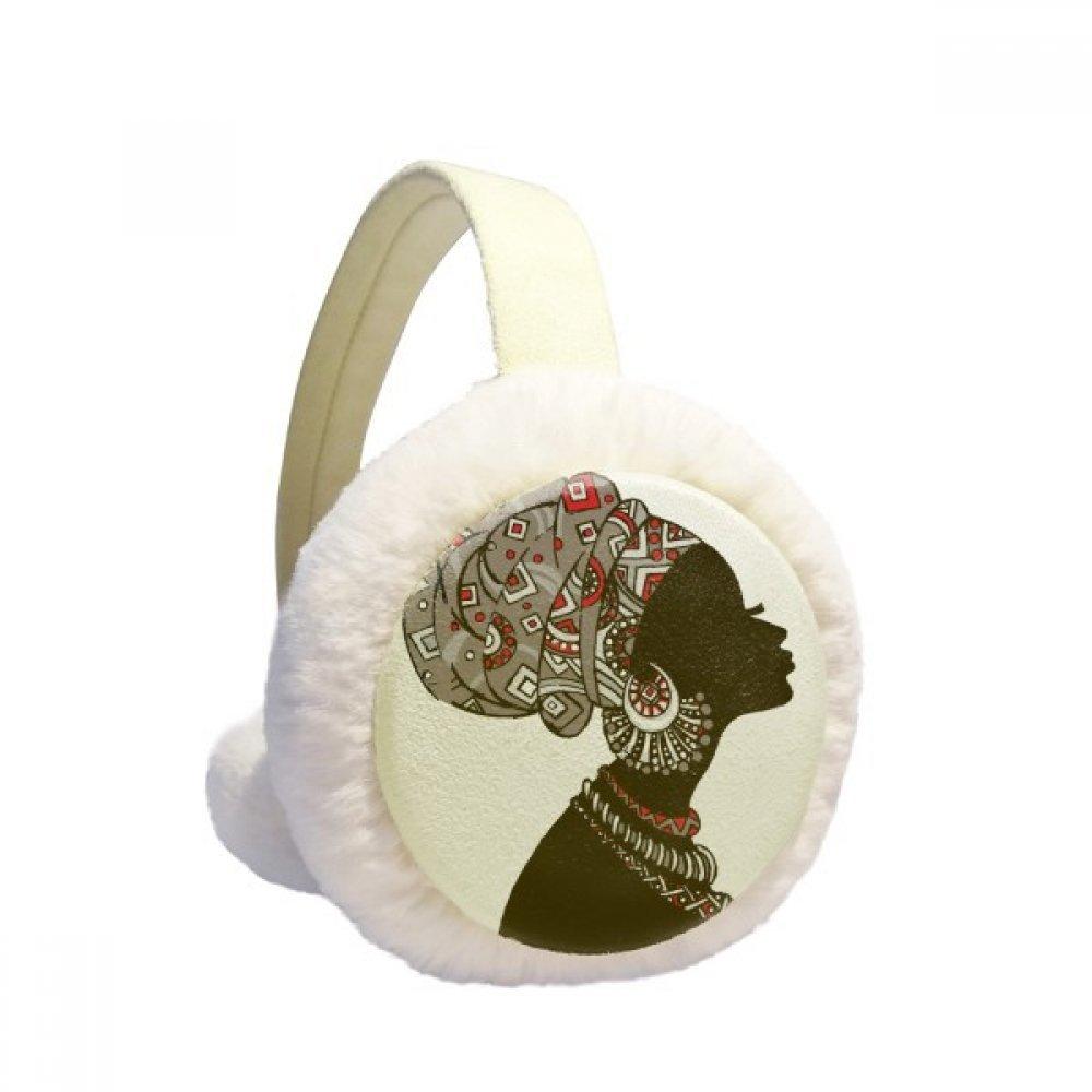 African Black Women Aboriginal Headdress Winter Earmuffs Ear Warmers Faux Fur Foldable Plush Outdoor Gift