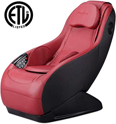 Fully Assembled Curved Long Rail Shiatsu Massage Chair w/Wireless Bluetooth Speaker and USB Charger PS4 (Burgundy Massage Chair)