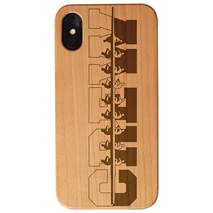 huge selection of 8ced2 bafec Amazon.com: Crew Engraved Wood iPhone X Case | Water Reflection ...