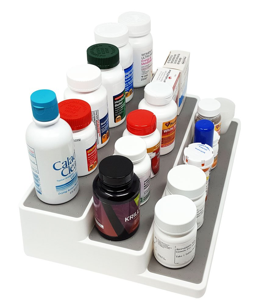 3-Tiered Medication, Vitamin, & Supplement Shelf Cabinet Organizer