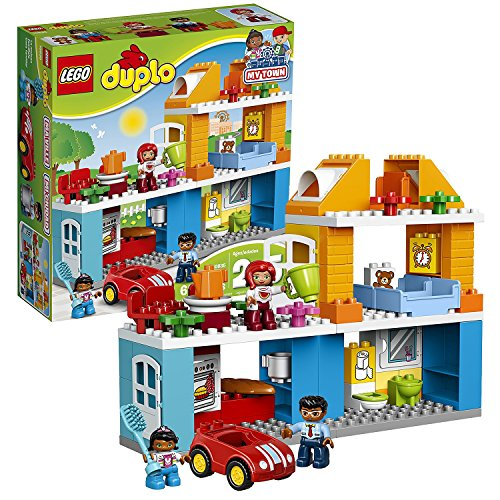 Lego Year 2017 Duplo My Town Series Set #10835 - FAMILY HOUSE with Car Plus Mom, Dad and Child Figure (Pieces: 69)