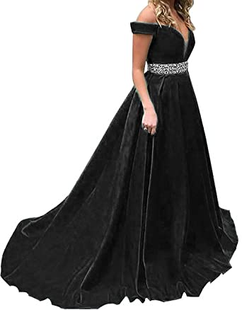 LOVING HOUSE Womens Sexy V Neck Satin Prom Dresses Long Beaded Evening Gowns Formal Party Dresses