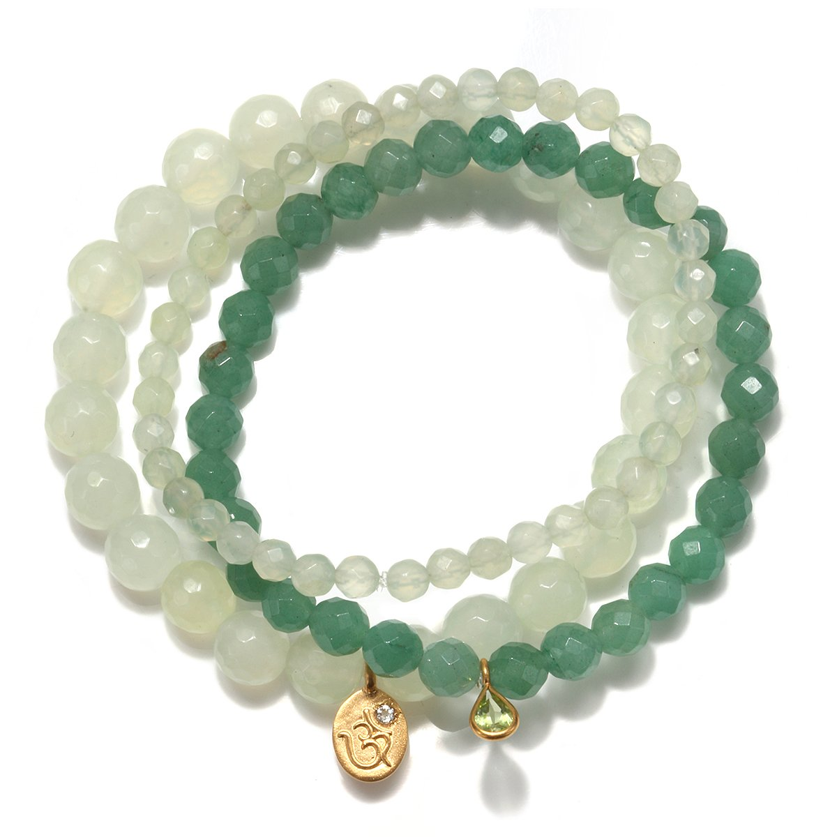 Satya Jewelry Womens New Jade Gold Om Stretch Bracelet Set, Green, One Size