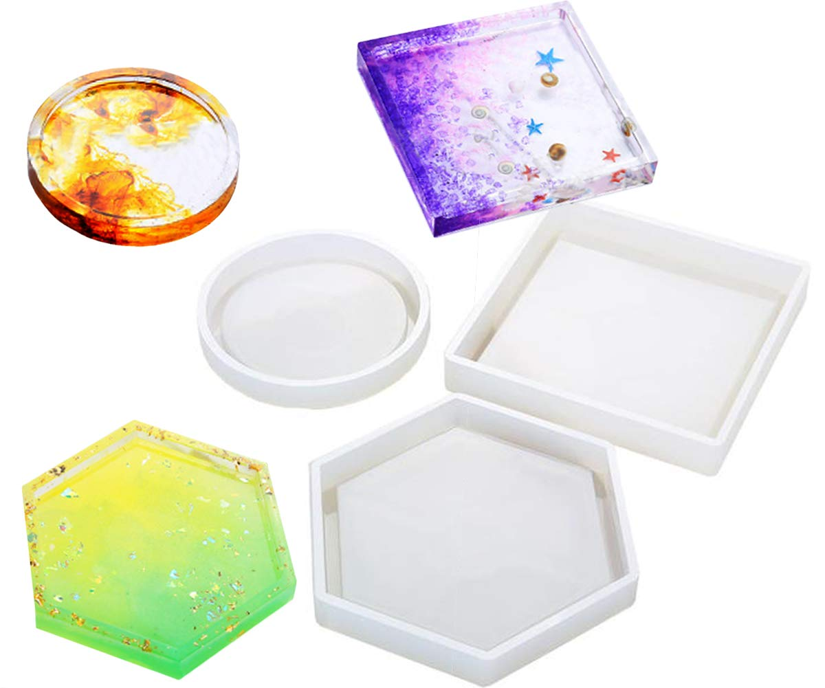 4 Pack Hexagon Silicone Coaster Molds - Silicone Resin Mold, Clear Epoxy Molds for Casting with Resin, Concrete, Cement and Polymer Clay Buytra