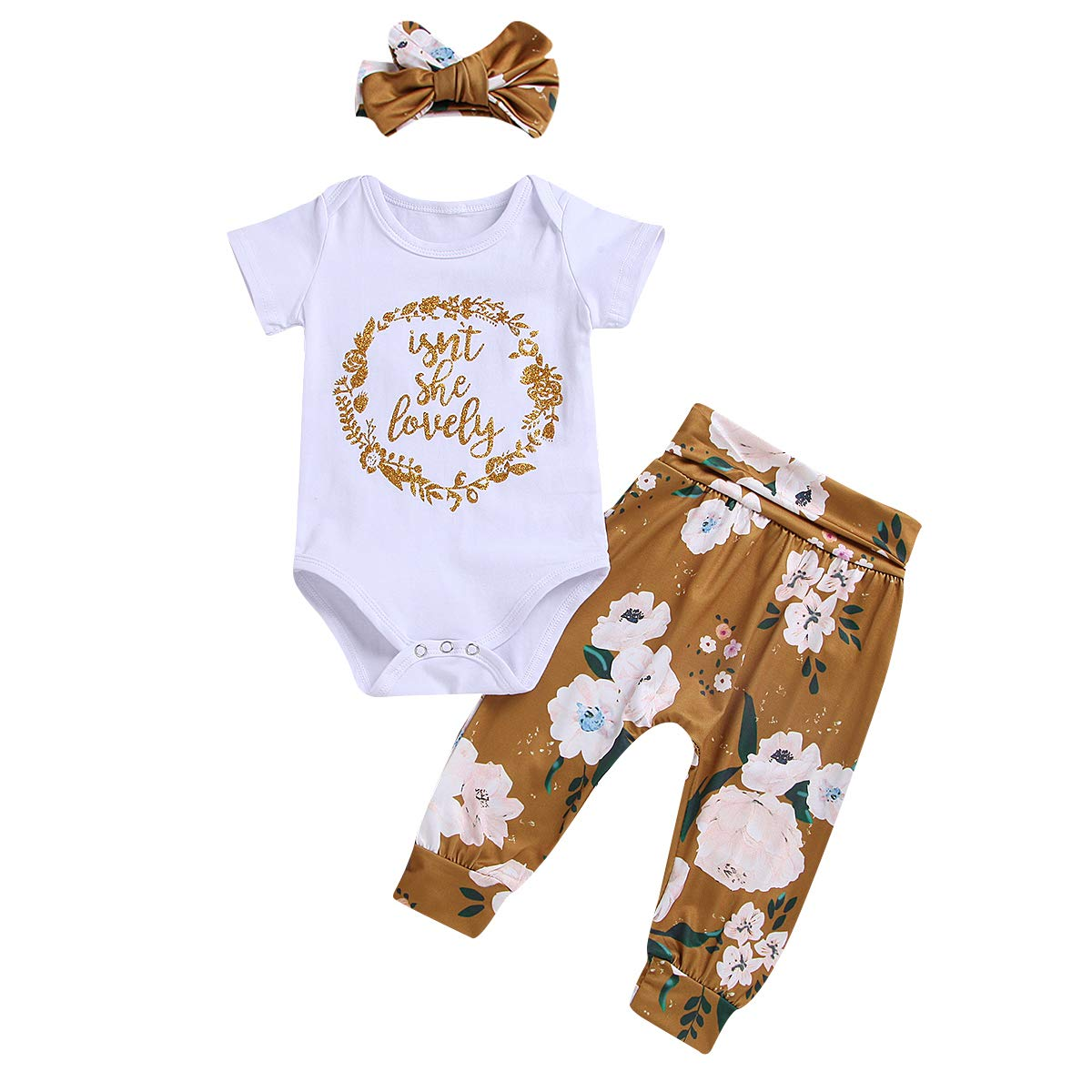 Isnt She Lovely Newborn Infant Baby Girl Outfits Short Sleeve Top Floral Pant Headband 0-18M Clothes Set