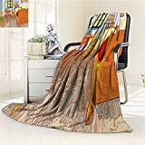 Digital Printing Duplex Printed Blanket Reproduction Fabric Home Accessories Decorations House Pictures Sweet Family Orange Blue Summer Quilt Comforter /W31.5 x H47