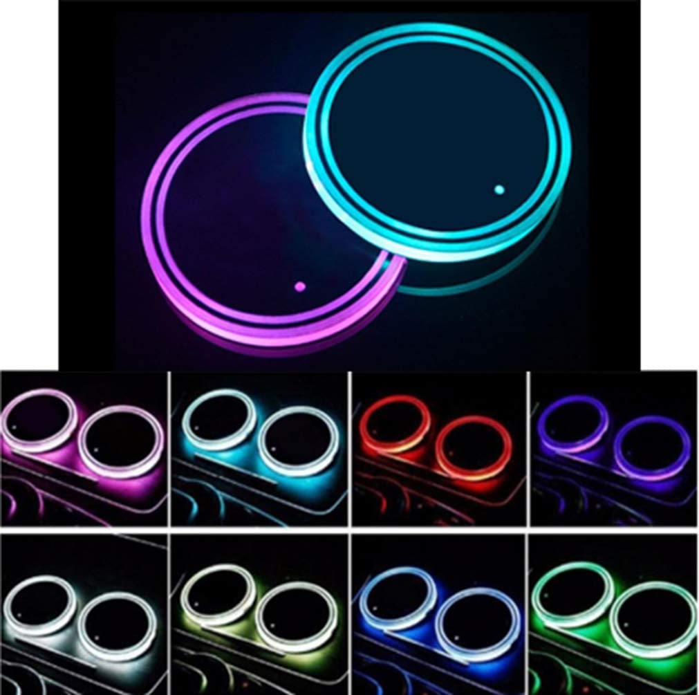 Sanpanie LED Car Cup Holder Lights 7 Colors Changing USB Charging Mat Luminescent Cup Pad Coaster Insert LED Interior Atmosphere Lamps
