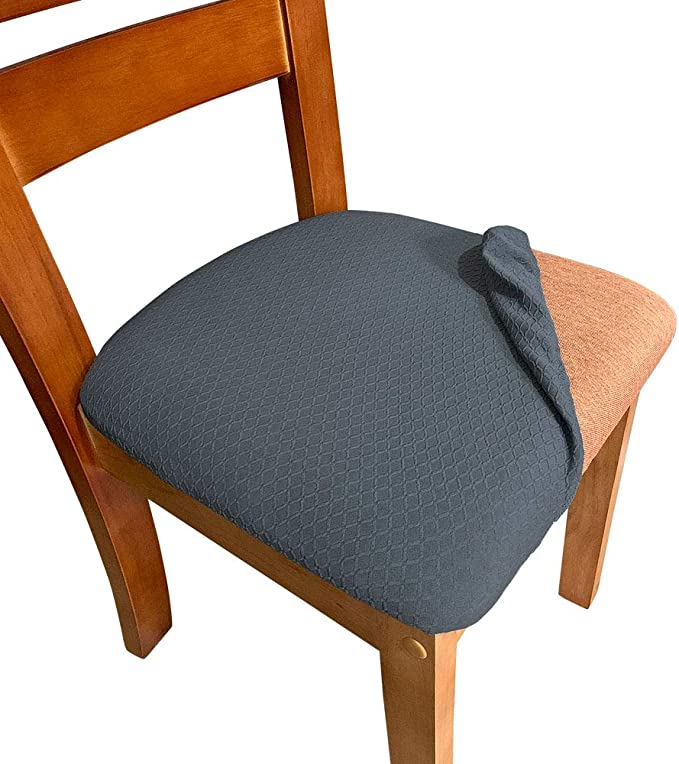 Melaluxe Stretch Dining Room Chair Seat Covers, Removable Washable Jacquard Anti-Dust Upholstered Kitchen Chair Seat Cushion Slipcovers (Dark Grey,Pack of 4)