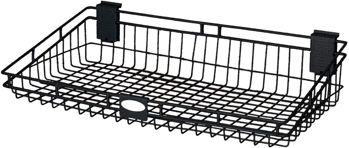 Suncast Wire Storage Basket - Wire Basket Ideal for Hanging on Slat Wall, Door, Counter for Convenient and Accessible Storage - Holds up to 60 lbs. - Black