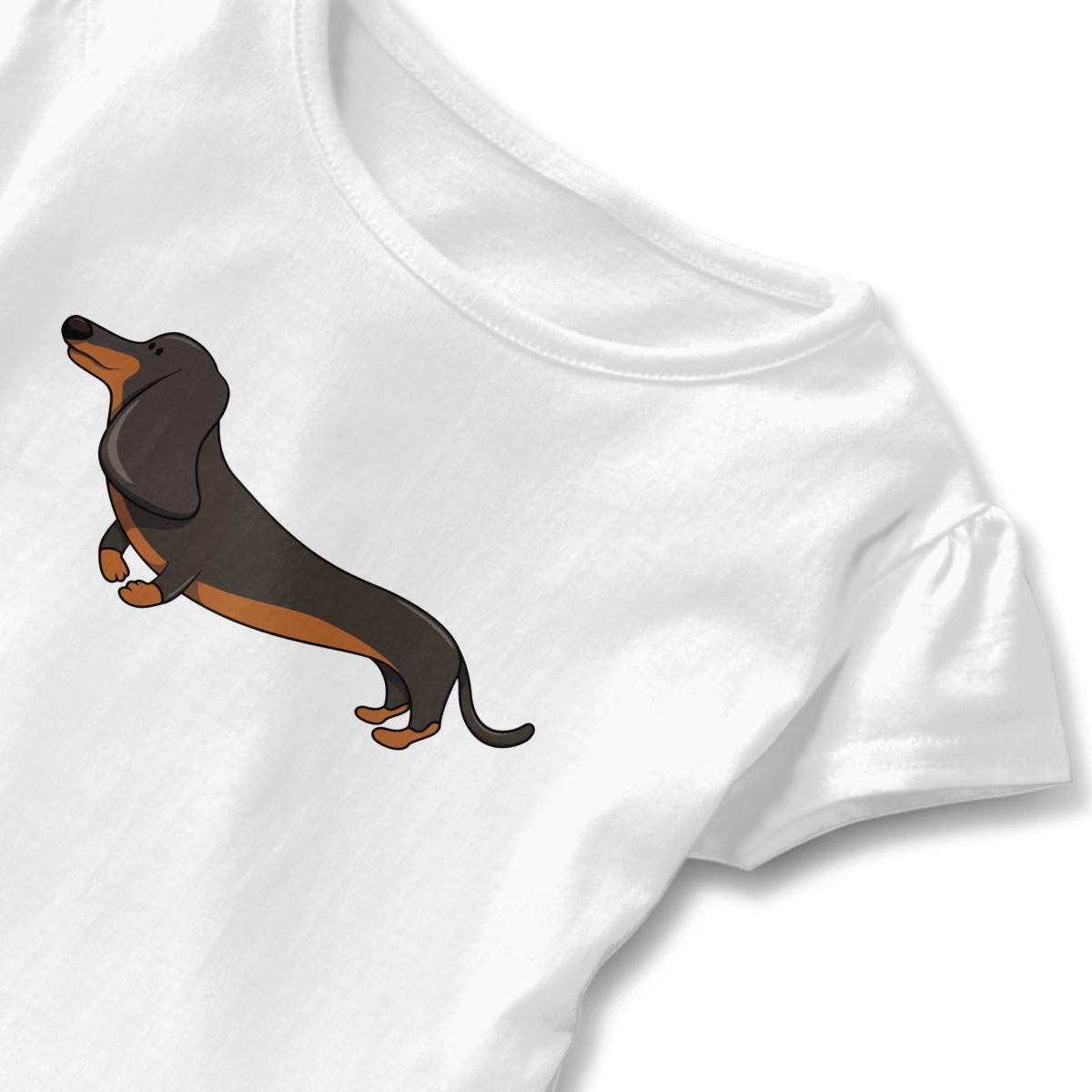 HYBDX9T Little Girls Daschund Puppy Funny Short Sleeve Cotton T Shirts Basic Tops Tee Clothes
