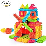 Bristle Shape Building Blocks Set, Sacow 150pcs Plastic Educational Bristle Building Tiles Blocks Set Construction Playboards Toys for Toddlers Kids