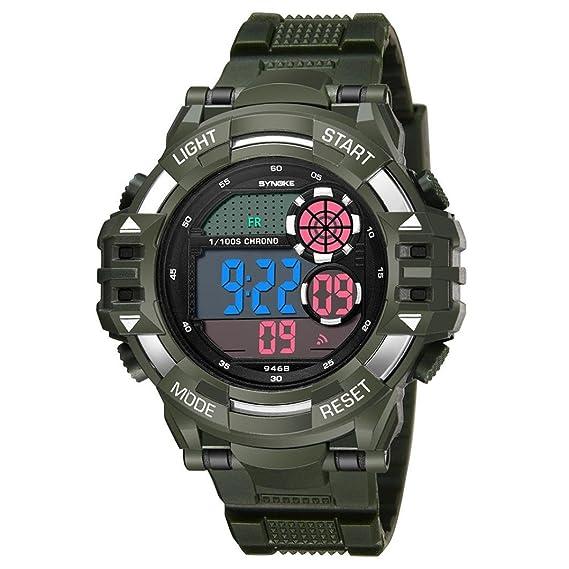 Reloj deportivo multifuncional militar para hombres, impermeable, diseño Bluetooth con números grandes en pantalla LCD digital con retroiluminación, ...