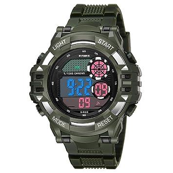 Reloj deportivo multifuncional militar para hombres, impermeable, diseño Bluetooth con números grandes en pantalla